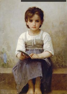 Artist: William-Adolphe Bouguereau Painting: The hard lesson