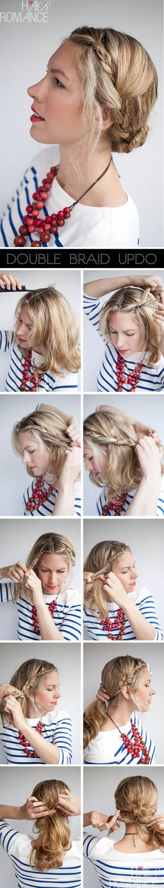 Valentino inspired double braid updo tutorial - sans random piece of frizzy hair in the face. haha