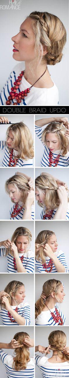 double tresse avec chignon bun #tutoriel #coiffure #cheveux  #tresse #bun