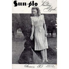 Vintage 1940s Dresses Knitting Patterns  SunGlo by BessieAndMaive, $16.00