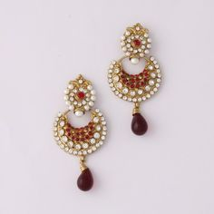 Maroon Diamond White Stone Earring