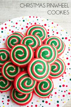 Christmas Cookie Pinwheels are a festive holiday treat that'll be the star of your Christmas cookie plate! #christmascookies