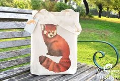 Red Panda Tote Bag Ethically Produced Shopping by ceridwenDESIGN