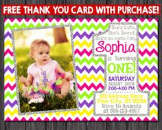 First Birthday Invitation  Multi-colored Chevron by PuggyPrints