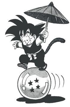 Goku niño sobre una esfera de 4 estrellas(namrkiana)
