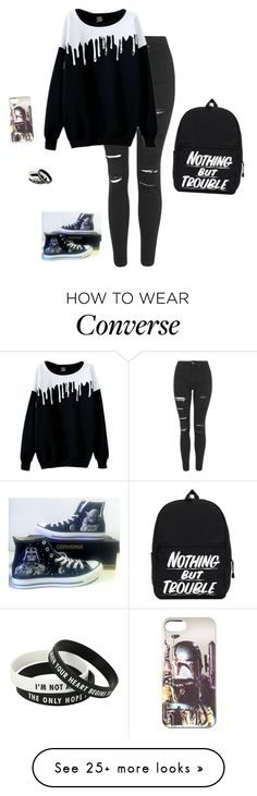"""I'M BORED HALP"" by hanakdudley on Polyvore featuring Topshop and Converse"
