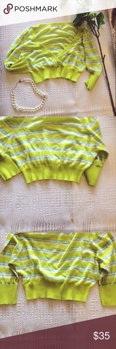 Free People Girl's Large Sweater Neon   Green 100% cotton. Pullover design with some pilling. Faux wrap design. Used but good condition. Make me an offer! Free People Shirts & Tops Sweaters