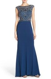 Sean Collection Beaded Cutout Back Cap Sleeve Gown