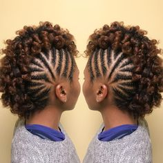 Transitioning involves slowly growing out your natural hair until you're ready to cut off your relaxed ends. Here are 35 transitioning styles for short hair. hairstyles 35 Transitioning Hairstyles For Short Hair Braided Mohawk Hairstyles, My Hairstyle, Twist Hairstyles, African Hairstyles, Braided Mohawk Black Hair, Black Hairstyles, Braids With Curls, Girls Braids, Mohawk Braids For Kids