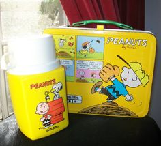1980 King Seeley Peanuts Lunch Box Tin & Thermos. This may very well be my lunch box or at least pretty dang close.