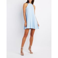Charlotte Russe Mock Neck Swing Dress ($20) ❤ liked on Polyvore featuring dresses, sterling blue, white dress, high neck white dress, high neck dress, sleeveless shift dress and blue dress