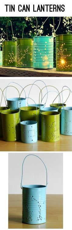Repurpose tin cans into luminaries    tata's note: This is so incredibly easy, I'm feeling a little silly for not having done this sooner. Clean the can, add water and freeze then punch holes with hammer and nails. Paint and add candle!   In my first thre