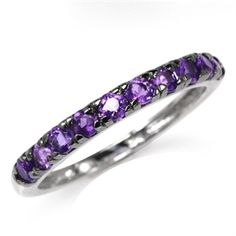 Natural Amethyst White Gold Plated 925 Sterling Silver Journey Stack/Stackable Ring  *Chloe's birthstone to go w/Gabe's sapphire band and my wedding band & engagement ring.