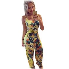 ROPALIA Womens Backless Bandage Bodycon Party Floral Jumpsuit Romper Long Pants