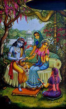 Krishna Painting - Radha Krishna Man Lila On Radha Kunda by Vrindavan Das Radha Krishna Wallpaper, Radha Krishna Pictures, Lord Krishna Images, Radha Krishna Photo, Krishna Art, Radhe Krishna, Shiva Art, Shree Krishna, Turbans