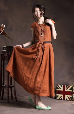 Maxi Linen Dress with Belt in Orange / Cocktail by camelliatune, $88.00