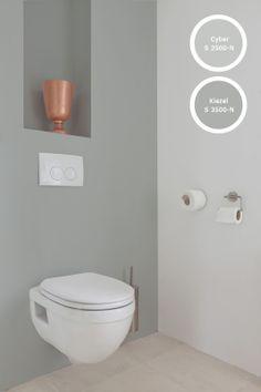 Histor Reinigbaar is dus ook prima toe te passen in het toilet. Onze neutrale grijzen, grijzen met alleen maar een menging van zwart en wit, passen heel goed bij de verschillende materialen in deze ruimte.