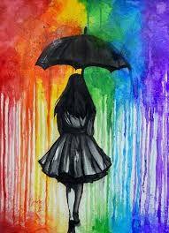 Resultado de imagen para girl with umbrella painting