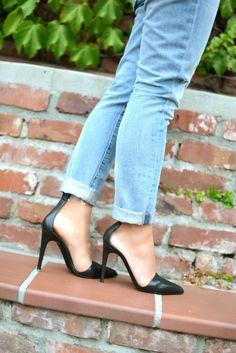 Tibi PVC ankle cuff black pointy toe heels.