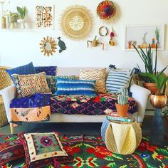 Things from our travels, things from our friends, and things from our head. #JungalowStyle - check out the pillows!