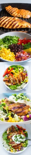 Chipotle's Chicken Burrito Bowl with Cilantro Lime Rice. The best salad recipe for dinner!