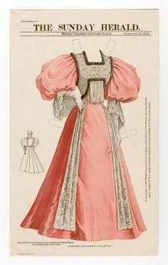 Бумажные куклы, ретро.Платье для посещения концерта; повседневный туалет .1895