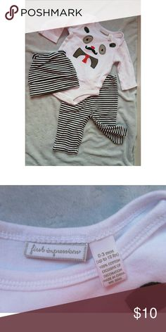NWOT Baby Boy's Outfit Panda Moustache Set 0-3 M +New without tags but never worn. Black and white striped pattern, set includes pants onesie / bodysuit, and hat. Bodysuit has a panda face with a mustache and neck tie on it, super cute :-) +Bundle with my other men's/women's items or kids/baby clothes :-) Please ask any questions before buying. Smoke & pet free home. Thanks for shopping this WAHM's Suggested User closet! First Impressions Matching Sets