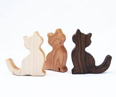 Cat-shaped Organic smooth American hardwood rattles for both young and old. Can be personalized, too