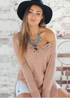 [ $25.00 ] Sexy V-neck loose sweater L426810