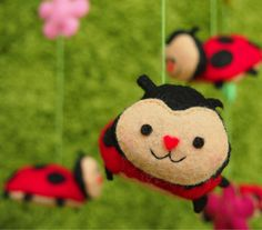 Handmade Baby Mobile - Ladybugs with Personalities - Children Mobile - Nursery Mobile - Baby Crib Mobile on Etsy, $83.99