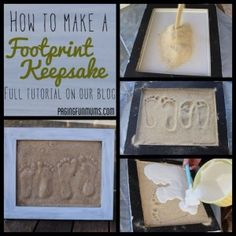 Hand & Footprint Art DIY Ideas and Projects - How to make a sand footprint keepsake tutorial Beach Crafts, Crafts To Do, Crafts For Kids, Toddler Crafts, Kids Diy, Summer Crafts, 4 Kids, Preschool Crafts, Craft Gifts