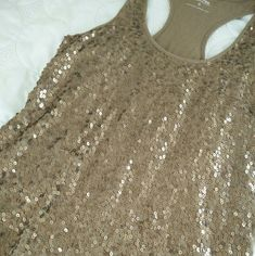 Express gold sequence tank Great condition Express   Tops Tank Tops