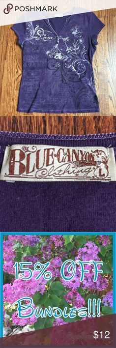 Blue canyon top Has cute details to it for a little extra bling! So cute!! Blue Canyon Tops Tees - Short Sleeve