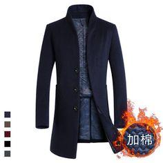 Warm Winter Long Trench Coat Men Overcoat Jacket Men Windbreaker Woolen Fashion Black Trench Coat Men Wool Plus Size Costume New