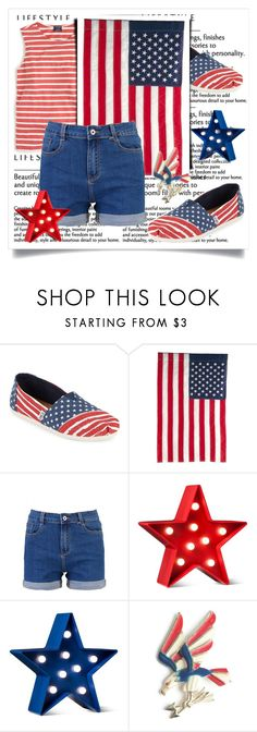 """""""white , red and blue 💙❤"""" by lanabaloley ❤ liked on Polyvore featuring TOMS, Evergreen Enterprises and POPTIMISM!"""