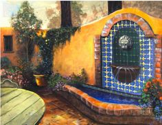 Mexican courtyard, fountain. Artist is Rucker