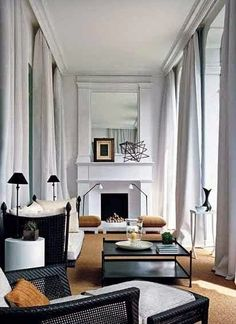 Dramatic ceiling height drapes.