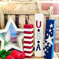 Fourth Of July Decor, 4th Of July Decorations, 4th Of July Party, Halloween Decorations, July 4th, Patriotic Crafts, July Crafts, Wooden Firecrackers, Witch Decor
