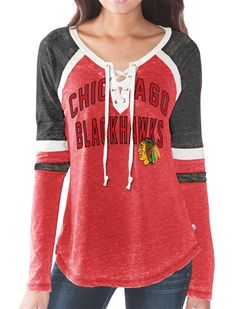 Touch by Alyssa Milano Chicago Blackhawks Womens Laceup Long Sleeve Top