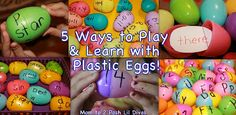 5 Fun Ways to Play & Learn with Plastic Eggs! Review Letters & sounds, sight words, and word families and practice number recognition & addition facts! So much you can do! How do you use plastic eggs to aid in learning?