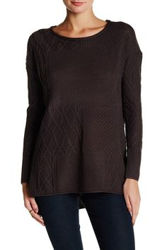 Mixed Cable Hi-Lo Sweater