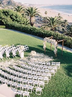 Los Angeles Wedding at Bel-Air Bay Club in Pacific Palisades, California: Photos A Chic All-White Wedding in Bel-Air, California, Outdoor Wedding Ceremony Space Overlooking Ocean - Wedding Ceremony Seating, Wedding Ceremony Decorations, Wedding Venues, Wedding Photos, Wedding Ideas, Wedding Table, Outdoor Wedding Ceremonies, Wedding Themes, Decor Wedding