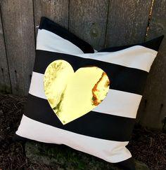 cc gold heart striped pillow