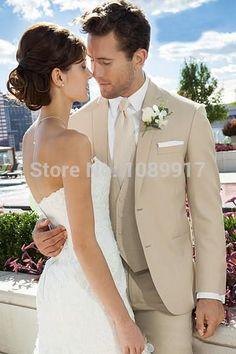 Venta al por mayor - por encargo tamaño y Color dos botones smokinges del novio Beige mejor hombre traje trajes de boda ( Jacket + Pants + Tie + Vest )(China (Mainland)):