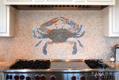 Custom Crab marble mosaic backsplash in Botticino, Blue Macauba, Celeste… Mosaic Backsplash, Marble Mosaic, Mosaic Tiles, Backsplash Ideas, Kitchen Backsplash, Tile Ideas, Mosaic Floors, Kitchen Mosaic, Aqua Kitchen