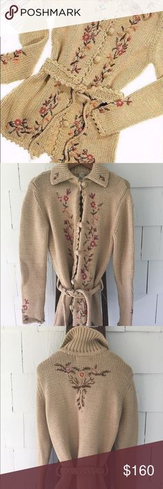 """Anthropologie Vintage Sweater Coat, M Anthropologie Vintage 2002, Sleeping on Snow 'Wildflower' Sweater Coat.  Size M. EUC!  This sweater coat is lovely, has beautiful embroidery on front, sleeves and back.  Knitted knot belt ties in front.  So rare!  Great collection piece!  This is in EUC! 31""""L Anthropologie Jackets & Coats"""
