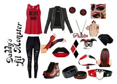 """Harley Quinn Casual ^3^ <3"" by mysterioustomboy28 ❤ liked on Polyvore featuring WithChic, Balmain, Target, Lime Crime, Static Nails and harleyquinn"