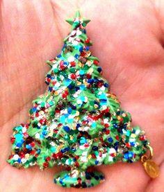 "STUNNING VINTAGE ESTATE GREEN CELLULOID SPARKLE XMAS TREE 2 1/8"" BROOCH!! 9195J  | eBay"