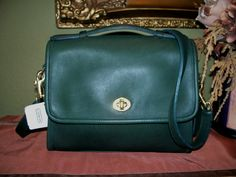 """Vintage Coach """"court bag"""" In Hunter Green, rare. Found today for 12 bucks!"""