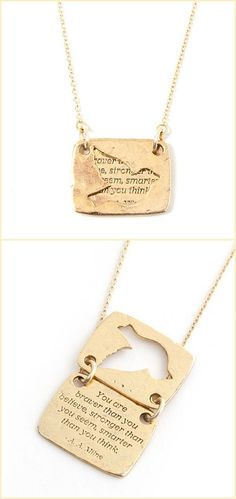 Bird Quote Necklace ~❥  you are braver than you believe stronger than you seem and smarter than you think *choice of gold or silver*